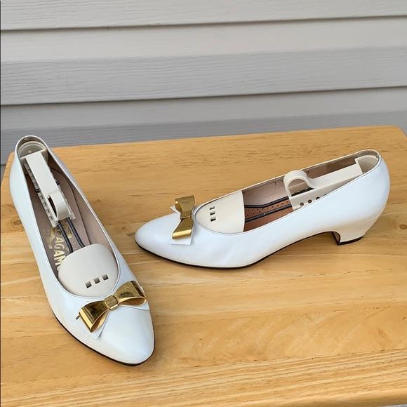 Salvatore Ferragamo Shoes - Salvador Ferragamo white bow Kitten Flats 7B